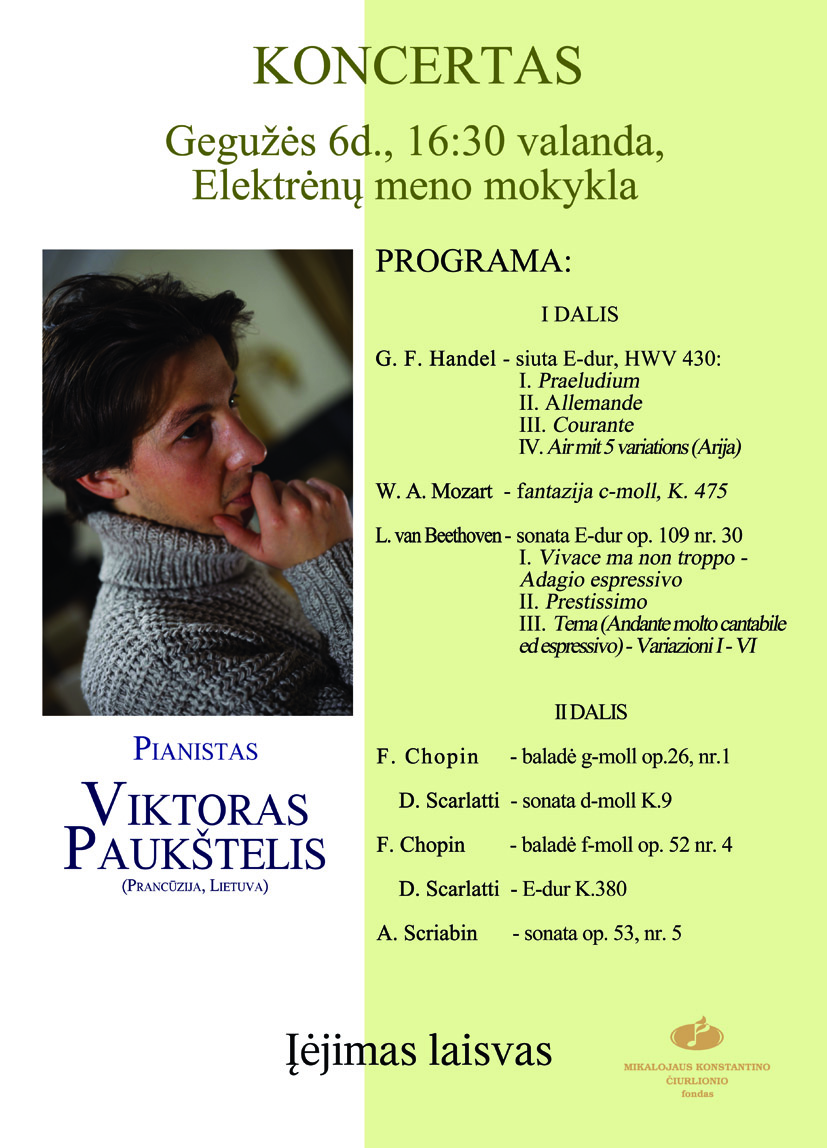 Pianisto Viktoro Paukštelio koncertas