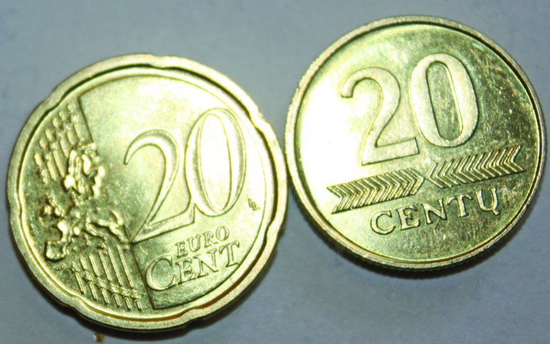 Kuo 20 euro centų skiriasi nuo 20 lito centų