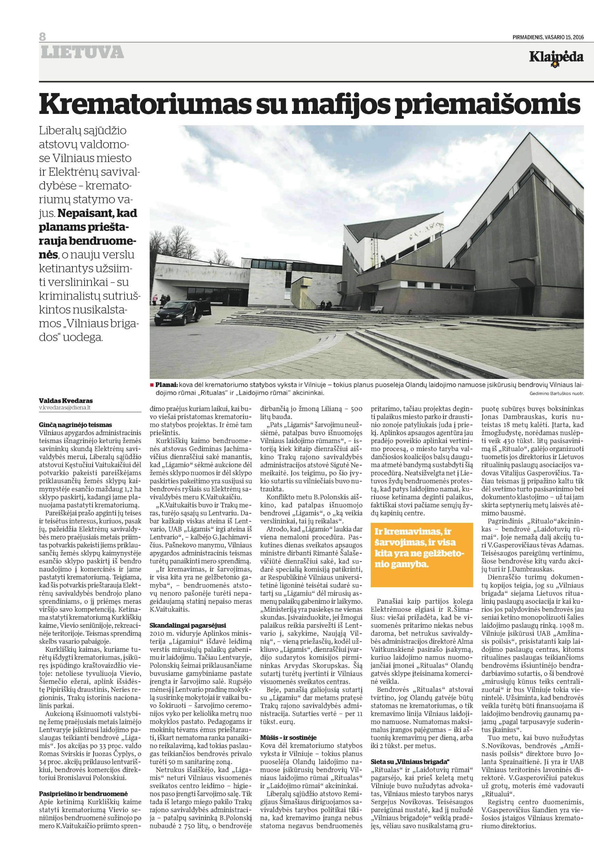 Apie krematoriumą Klaipėdos spauda