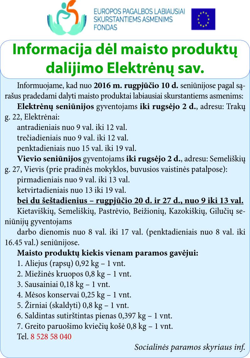 Informacija dėl maisto produktų dalijimo Elektrėnų sav.