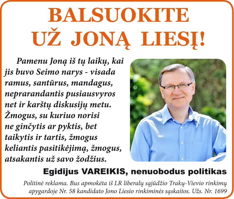 Balsuokite už Joną Liesį