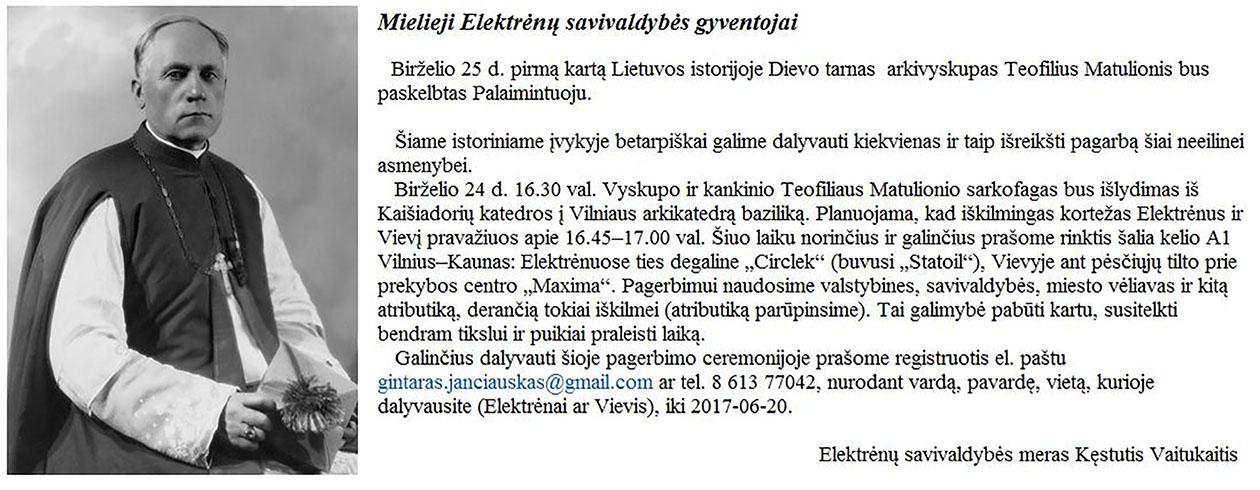 Arkivyskupas Teofilius Matulionis bus paskelbtas Palaimintuoju