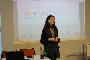 """Socialinio verslo """"Textale"""" įkūrėja Viktorija Nausėdienė savo veiklą pristatė Elektrėnų viešojoje bibliotekoje"""
