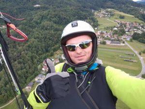 Arminas Petrauskas po skrydžio Slovakijos kalnuose