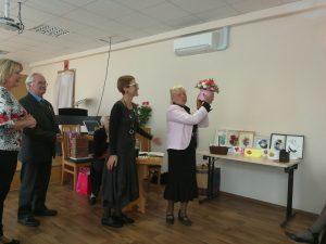 Atvyko pasveikinti Elektrėnų neįgaliųjų draugijų pirmininkai: Marija Kazbarienė, Alfonsas Sadonis ir Laimutė Klinkevičienė