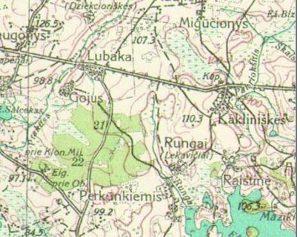 Gojus, Lubaka, Rungių kaimas ir upelis