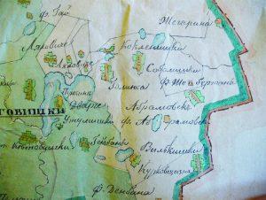 1812 m. karų, ėjusių per Abromiškių žemes, braižytas vietovės planas