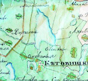 Ilgio ežeras. 1812 metų ranka pieštas karinis žemėlapis