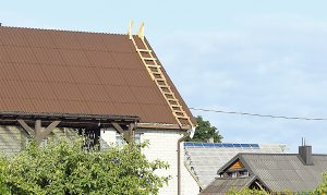 Paramos lėšomis kompensuojamos išlaidos stogo dangai ir statybinėms medžiagoms, būtinoms stogo dangai pakeisti. Dariaus Šypalio nuotr.