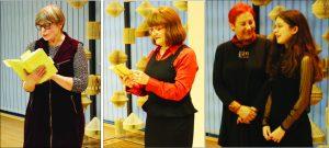 """Vakaro metu Salomėjos Nėries eiles skaitė literatūros mokytojos Daiva Balčėnienė ir Vilija Narvydienė, """"Ąžuolyno"""" progimnazijos moksleivė Diana Viktorija Kartenytė"""